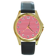 Horizontal Stripes Red Round Gold Metal Watch by Mariart