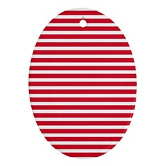 Horizontal Stripes Red Oval Ornament (two Sides) by Mariart