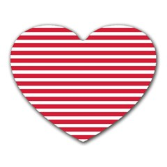 Horizontal Stripes Red Heart Mousepads by Mariart