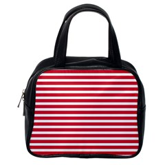 Horizontal Stripes Red Classic Handbags (one Side) by Mariart