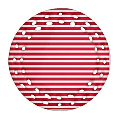 Horizontal Stripes Red Round Filigree Ornament (two Sides) by Mariart