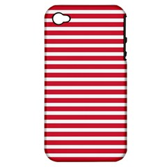 Horizontal Stripes Red Apple Iphone 4/4s Hardshell Case (pc+silicone) by Mariart