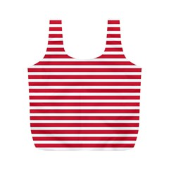 Horizontal Stripes Red Full Print Recycle Bags (m)  by Mariart
