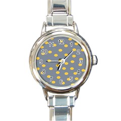 Limpet Polka Dot Yellow Grey Round Italian Charm Watch by Mariart