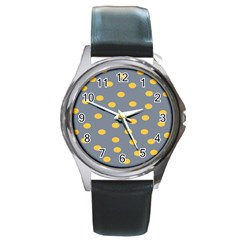 Limpet Polka Dot Yellow Grey Round Metal Watch by Mariart