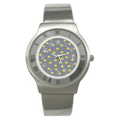 Limpet Polka Dot Yellow Grey Stainless Steel Watch by Mariart