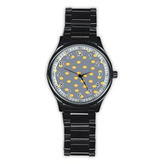 Limpet Polka Dot Yellow Grey Stainless Steel Round Watch by Mariart