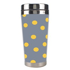 Limpet Polka Dot Yellow Grey Stainless Steel Travel Tumblers by Mariart
