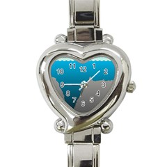 Mariana Trench Sea Beach Water Blue Heart Italian Charm Watch by Mariart