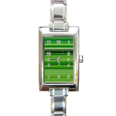 Horizontal Stripes Line Green Rectangle Italian Charm Watch by Mariart