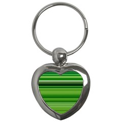 Horizontal Stripes Line Green Key Chains (heart)  by Mariart