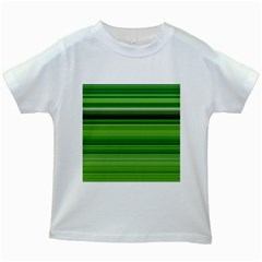 Horizontal Stripes Line Green Kids White T Shirts by Mariart