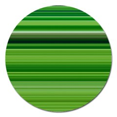 Horizontal Stripes Line Green Magnet 5  (round) by Mariart