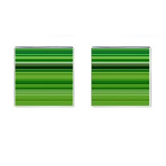 Horizontal Stripes Line Green Cufflinks (square) by Mariart