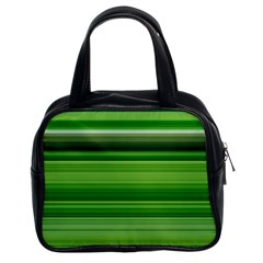 Horizontal Stripes Line Green Classic Handbags (2 Sides) by Mariart