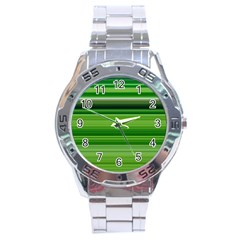 Horizontal Stripes Line Green Stainless Steel Analogue Watch