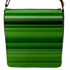 Horizontal Stripes Line Green Flap Messenger Bag (s) by Mariart