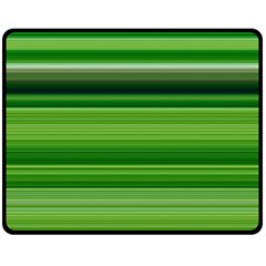 Horizontal Stripes Line Green Double Sided Fleece Blanket (medium)  by Mariart