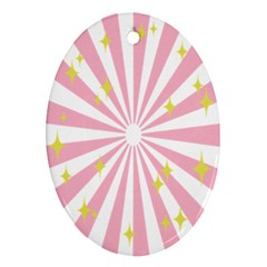 Hurak Pink Star Yellow Hole Sunlight Light Oval Ornament (two Sides) by Mariart