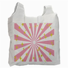Hurak Pink Star Yellow Hole Sunlight Light Recycle Bag (two Side)  by Mariart