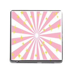 Hurak Pink Star Yellow Hole Sunlight Light Memory Card Reader (square) by Mariart