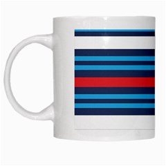 Martini Style Racing Tape Blue Red White White Mugs by Mariart