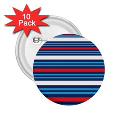 Martini Style Racing Tape Blue Red White 2 25  Buttons (10 Pack)