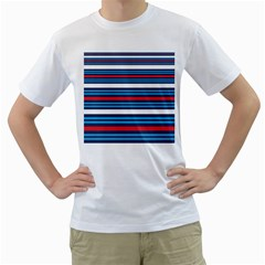 Martini Style Racing Tape Blue Red White Men s T Shirt (white) (two Sided) by Mariart