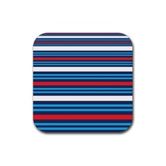 Martini Style Racing Tape Blue Red White Rubber Coaster (square)  by Mariart