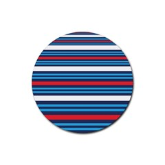 Martini Style Racing Tape Blue Red White Rubber Coaster (round)  by Mariart