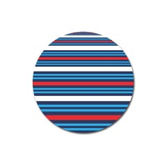 Martini Style Racing Tape Blue Red White Magnet 3  (round) by Mariart
