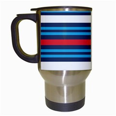 Martini Style Racing Tape Blue Red White Travel Mugs (white) by Mariart