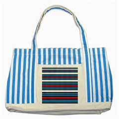 Martini Style Racing Tape Blue Red White Striped Blue Tote Bag by Mariart