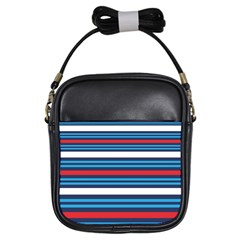 Martini Style Racing Tape Blue Red White Girls Sling Bags by Mariart