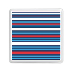 Martini Style Racing Tape Blue Red White Memory Card Reader (square)  by Mariart