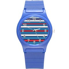 Martini Style Racing Tape Blue Red White Round Plastic Sport Watch (s) by Mariart