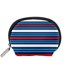 Martini Style Racing Tape Blue Red White Accessory Pouches (small)  by Mariart