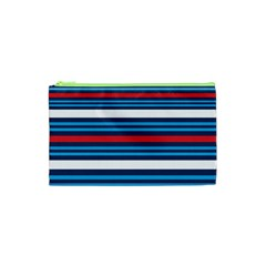 Martini Style Racing Tape Blue Red White Cosmetic Bag (xs) by Mariart