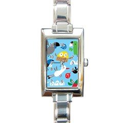 New Zealand Birds Close Fly Animals Rectangle Italian Charm Watch by Mariart