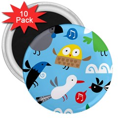 New Zealand Birds Close Fly Animals 3  Magnets (10 Pack)  by Mariart