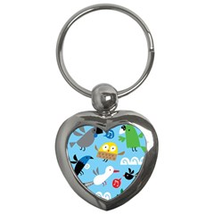 New Zealand Birds Close Fly Animals Key Chains (heart)  by Mariart