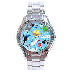 New Zealand Birds Close Fly Animals Stainless Steel Analogue Watch by Mariart