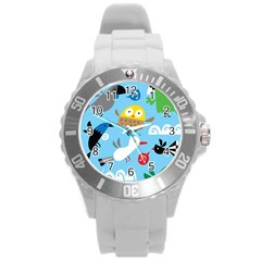 New Zealand Birds Close Fly Animals Round Plastic Sport Watch (l) by Mariart