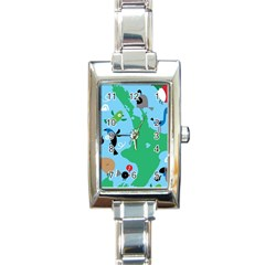 New Zealand Birds Detail Animals Fly Rectangle Italian Charm Watch by Mariart