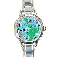 New Zealand Birds Detail Animals Fly Round Italian Charm Watch by Mariart