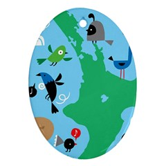 New Zealand Birds Detail Animals Fly Ornament (oval) by Mariart