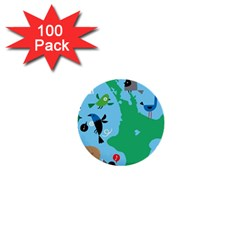 New Zealand Birds Detail Animals Fly 1  Mini Buttons (100 Pack)  by Mariart