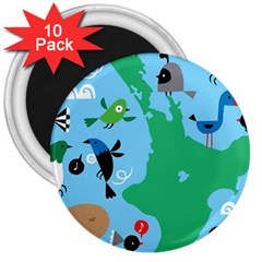 New Zealand Birds Detail Animals Fly 3  Magnets (10 Pack)  by Mariart