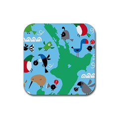 New Zealand Birds Detail Animals Fly Rubber Square Coaster (4 Pack)  by Mariart