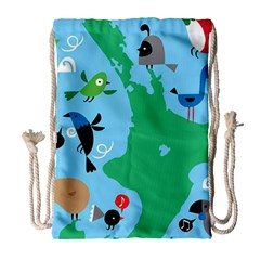 New Zealand Birds Detail Animals Fly Drawstring Bag (large) by Mariart